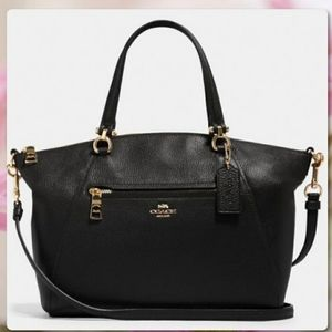 Coach Tyler Satchel Black Leather & Gold